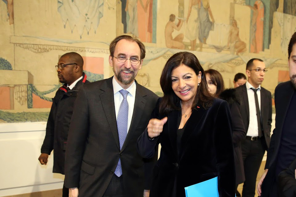 The UN High Commissioner for Human Rights with the Mayor of Paris.