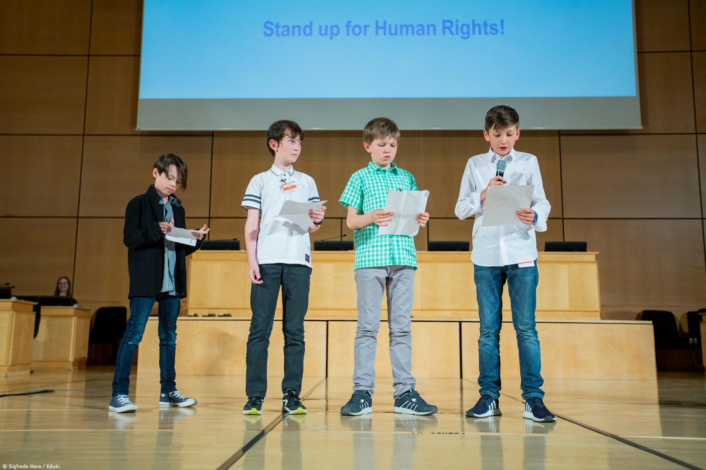Children stand up for human rights.